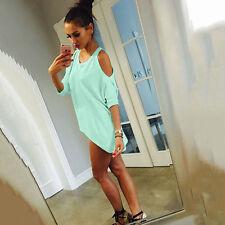 Womens Cold Shoulder Tops Blouse Asymmetrical Hem T Shirts Casual Short Dress