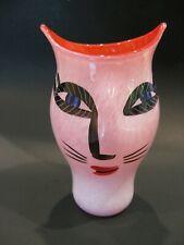 Vintage KOSTA BODA Open Minds Cat Face Vase Scandinavian Art Glass Signed & #