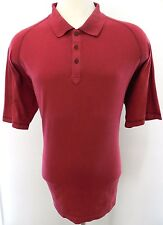 WOOLRICH Shirt XL Polo MENS Red RUST Short SLEEVES Casual COTTON 3 Button SIZE**