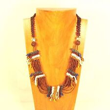 """22"""" Tribal Multi Strand Gold Handmade Seed Bead Necklace FREE SHIPPING!!"""