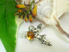 Large Angel Amber Pendant 925 Silver ta517d