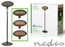 More details for nedis 2kw free standing quartz outdoor electric garden patio heater 3 settings