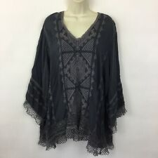 Johnny Was XXL Boho Tunic Top blue embroidered lagenlook 2XL blouse