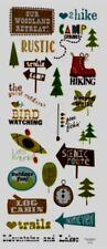 "Hiking Camping Rustic Getaway Phrase Scrapbook Stickers 5x12"""