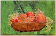 Mid Century Modern Fruit Still Life Painting by Riggs 1968 Oranges Grapes