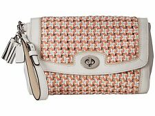 NWT COACH LEATHER LEGACY CANNING CORAL CHALK WOVEN FLAP CLUTCH PURSE BAG 49220