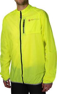 Piu Miglia Mens Cycling Rain Jacket Lightweight Water Repellent HiViz Yellow M L