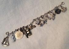 Vintage Sterling Silver Charm Bracelet - 14 Sterling Charms