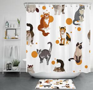 Cat Shower Curtain Funny Cartoon Animals Kitten Decor Bathroom Accessories Set