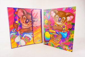 Vintage Lisa Frank Rainbow Koala Trapper Binder AND FOLDERS! Inside Pockets
