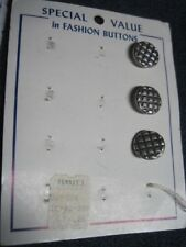 ANT/VTG SPECIAL VALUE PARTIAL CARD SILVER 'WAFFLE' PATTERN METAL BUTTON QTY 3