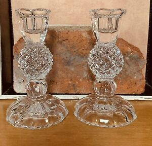 "Lead Crystal Glass Diamond Cut Candlesticks   5.5"" Tall Candle Holders"