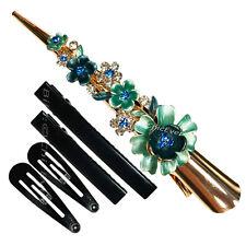 Haarspange Blumen Metall Strass Haarklammern Haarclips blau türkis gold 7537d