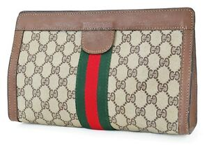 Auth VTG GUCCI Brown PVC Canvas and Leather Cosmetics Bag Clutch Pouch #40100
