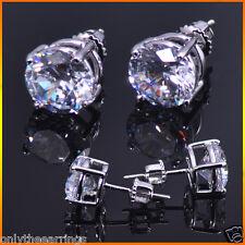 Mens Ladies 1.50 ct. Lab Diamond 18K W Gold Filled Screw Back Stud Earrings 8mm