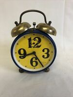 Vintage Blessing West Germany Alarm Clock Blue Yellow