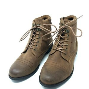 NEW White Mountain Booties 10 Lace Up Roper Ankle Boots Faux Suede Cognac Brown