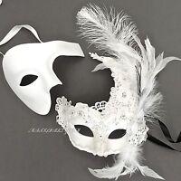 White Brocade Lace Feather & Phantom Set Of Wedding Ball Masquerade Party Mask