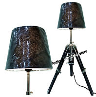 Designer Nautical Marine Table Lamp Black Wooden Tripod Office Decoration