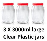 3 X 3000ml Plastic Storage Jars Containers Canisters Pots Screw Top Spice Jar