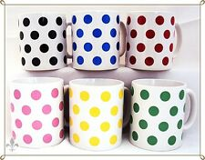 Mix Colours Spots Mugs Set 6 Black, Blue, Green, Pink, Red & Yellow Decorated UK