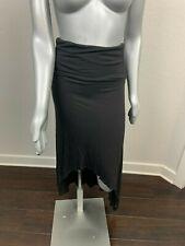 Billabong Women Maxi Skirt Sz M Folded Waist Long Hi-Low Casual Black