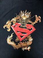 Vintage 1999 DC Comics Superman Dragon T Shirt Black Size Men's Large