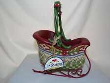 "Jim Shore Enesco ""Sleigh Bells Ring"" Sleigh with 5 Piece hanging Ornaments"