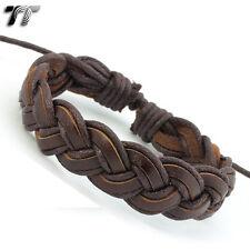 STYLISH TT BROWN Leather Bracelet Wristband LB131 NEW