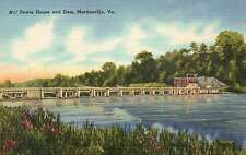 Power House and Dam, Martinsville, Virginia, Power Plant ? - Old Linen Postcard