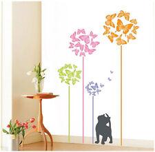 Cute Cat & Colorful Butterflies Wall Art  Home Decal Paper Sticker (50 x 70 cm)