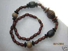 Vintage Wood Beads Necklace Strung Beads Retro Fashion Jewelry