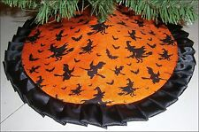 "Tabletop Halloween Tree Skirt ~ 24"" ~ Orange with Witches & Bats ~ Custom Made"