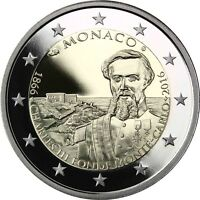 Monaco 2 Euro 2016 Charles III gründet Monte Carlo Gedenkmünze Polierte Platte