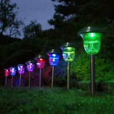 2 Stück Edelstahl Farbe 1-LED Weiße Lampen Solar Rasen Garten Lichter
