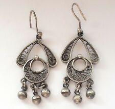 Beautiful 925 Silver Hook Drop Filigree Dangle Hippy Big Earrings Vintage Retro