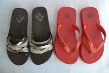 REEF lot of TWO size 5 flip-flop sandals Brown/Red