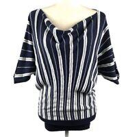 On Fire Women's Size Medium Striped Cowl Neck Dolman Banded Sweater