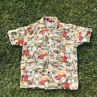 Vintage GUESS Men's Shortsleeve Button Down Hawaiian Shirt All Over Print Size M