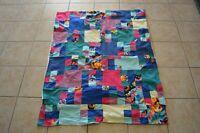 Vintage Patchwork Quick Quilt Tropical Fish Children's Lap Retro Boho Home Decor