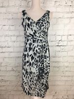 Womens RONNI NICOLE Grey Sleeveless Animal Print Front Wrap Dress Size 10