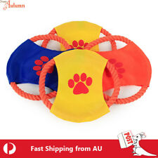 Pet Dog Frisbee Flying Disc Toy Fetch Training Cotton Rope Saucer Chew Fun