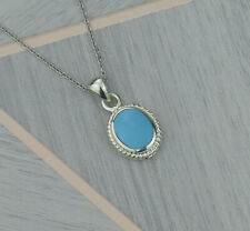 Sterling Silver March Pisces Birthstone Pendant Necklace In Turquoise