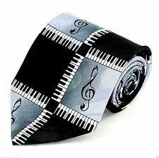 Keyboard Treble Clefs Mens Necktie Piano Music Keys Musician Black Neck Tie New