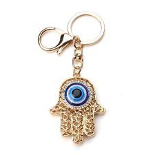 Evil Eye Hamsa Hand Fatima Mati Nazar Protection Blue Gold Key Ring Crystals