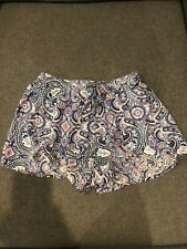 Womens Hollister Drapey Beach Shorts in Blue, Red & White Paisley Pattern Size S