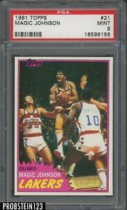 1981 Topps Basketball #21 Magic Johnson Los Angeles Lakers HOF PSA 9 RAZOR SHARP