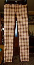DOLCE GABBANA CHECK BROWN MULTICOLOR WOOL PANTS TROUSERS SIZE  27 ITALY