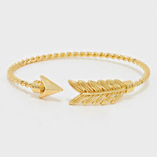 Arrow Cuff Bracelet Twisted Metal Band GOLD Leaf Feathers Wings Earth Jewelry