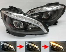 LED Headlights for Mercedes Benz W204 S204 Black Sequential Indicator